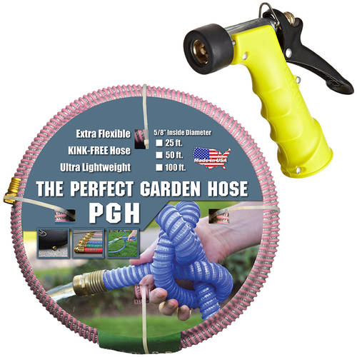 "The Perfect Garden Hose, 5/8"" ID Garden Hose with Insulated Water Nozzle, Multiple Sizes and Colors"