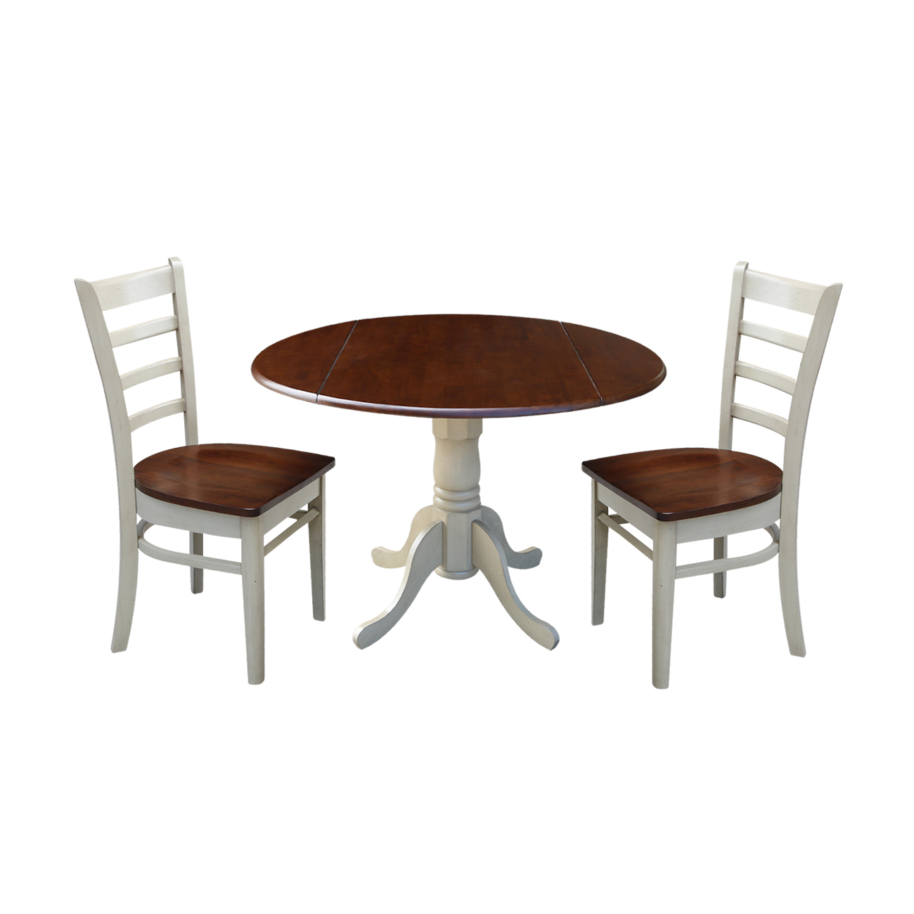 "42"" Dual Drop Leaf Table and 2 Emily Chairs - Almond/Espresso - 3 Piece Set"