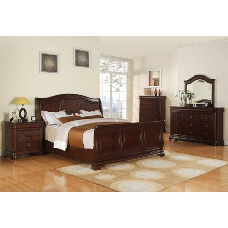 Victorian Bedroom Suite - Cambridge Corolla 5-Piece Bedroom Suite: Queen Bed, Dresser, Mirror, Chest and Nightstand