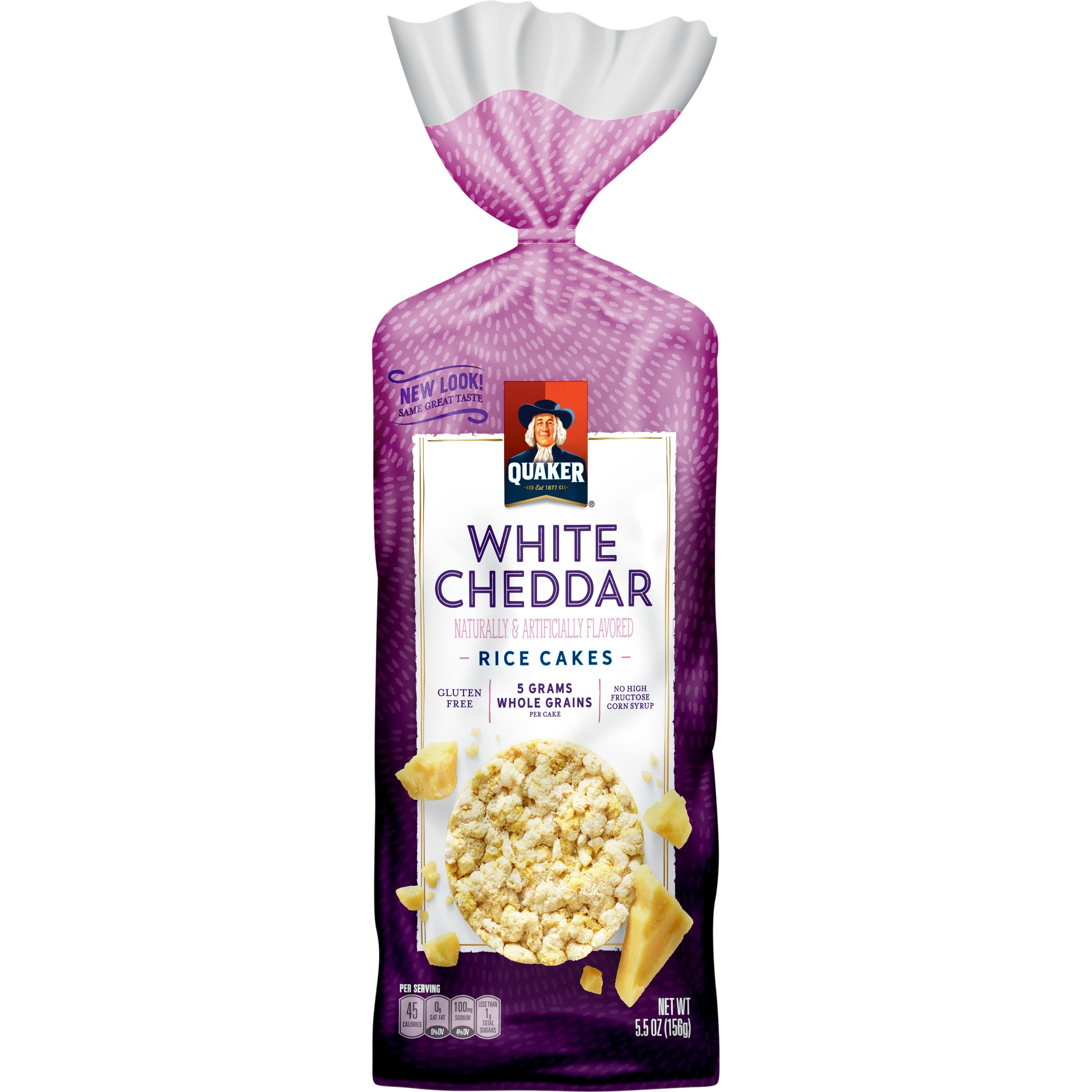 Quaker Rice Cakes, White Cheddar, 5.5 oz Bag