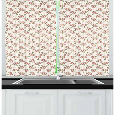 Umbrella Curtains 2 Panels Set, Spring Open Parasols with Pink Flowered Canopies Feminine Accessories, Window Drapes for Living Room Bedroom, 55W X 39L Inches, Pale Green Pink Beige, by Ambesonne ()