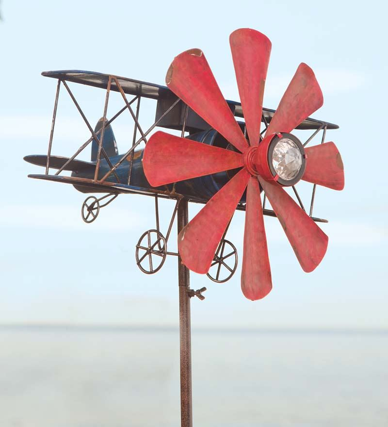Wind & Weather Biplane Metal Wind Spinner w  Solar LED Headlight by Problem Solvers
