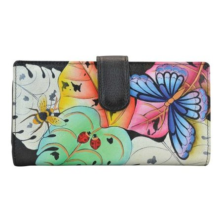 Fold Hand Tooled Leather (Women's ANNA by Anuschka Hand Painted Leather Two Fold Wallet 1827  7.5