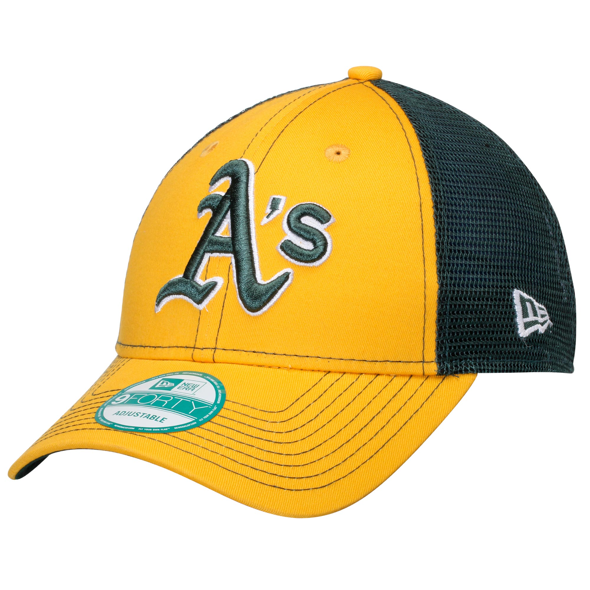 Oakland Athletics New Era Bold Mesher 9FORTY Adjustable Hat - Gold/Green - OSFA