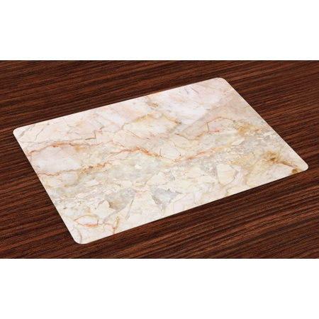 Marble Placemats Set of 4 Mine Pattern Design Natural Fractures Realistic Stained Surface Art Print, Washable Fabric Place Mats for Dining Room Kitchen Table Decor,Orange Sand Brown, by Ambesonne