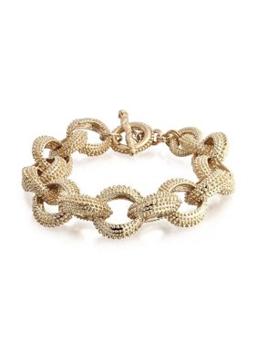 Fashion Open Oval Chain Link Chunky Matt Textured Gold Plated Bracelet For Women Toggle Clasp