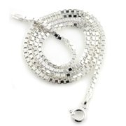2mm Sterling Silver Box Chain Italian Necklace