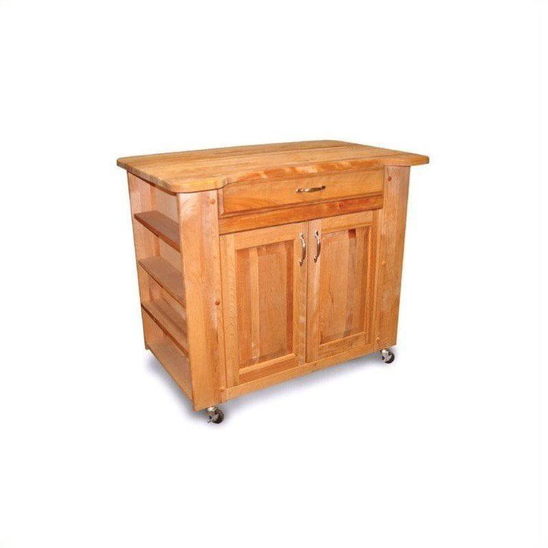 Catskill Deep Storage Large Butcher Block Kitchen Cart In Natural Walmart Com Walmart Com