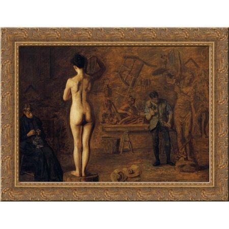 William Rush Carving His Allegorical Figure of the Schuylkill River 24x18 Gold Ornate Wood Framed Canvas Art by Thomas Eakins ()