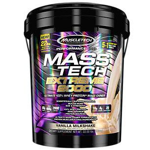 MuscleTech Mass Tech Extreme Vanilla Milkshake Weight Gainer, 22 Pound