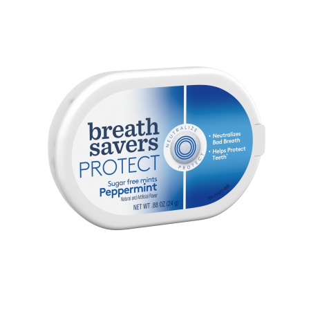 BREATH SAVERS PROTECT Mints in Peppermint Flavor, .88 Oz (Pack of 4)](Lifesaver Flavors)