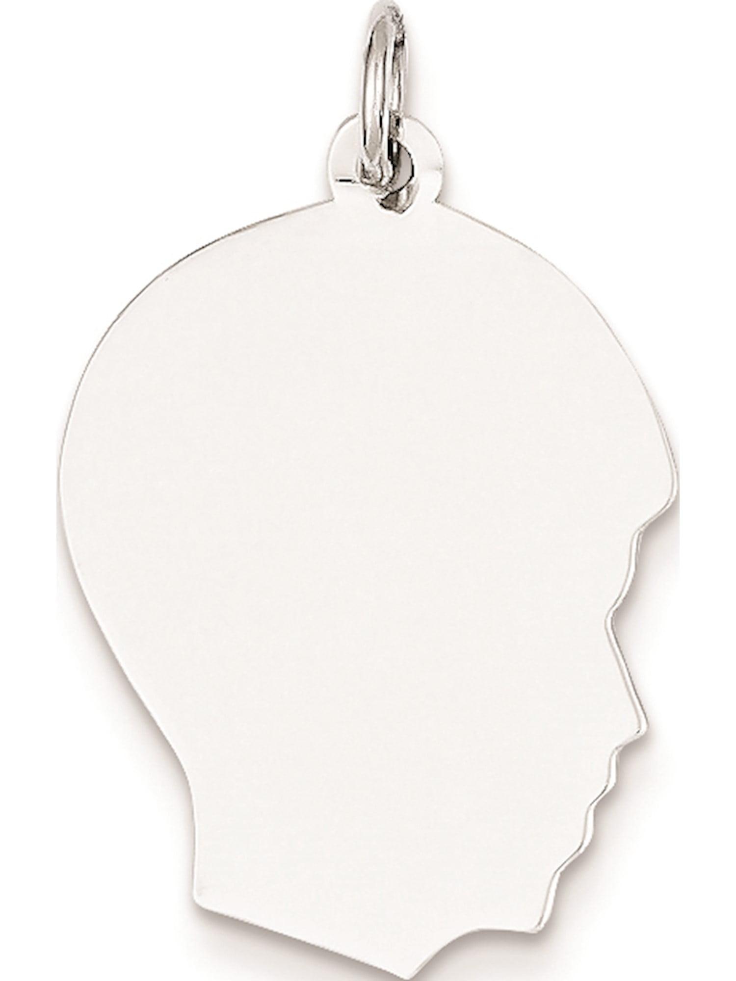 6f8dc9ec6 14k White Gold Plain Medium Facing Right Engravable Boy (17x29mm) Pendant /  Charm - zoomed image