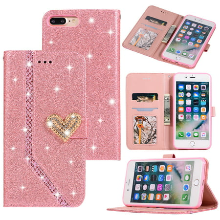 new york 4ea2e 6318c iPhone 8 Plus Case, iPhone 7 Plus Case, Allytech PU Leather Glitter Slim  Lightweight Full Body Protective Cards Slots Money Pocket Wallet Case Cover  ...