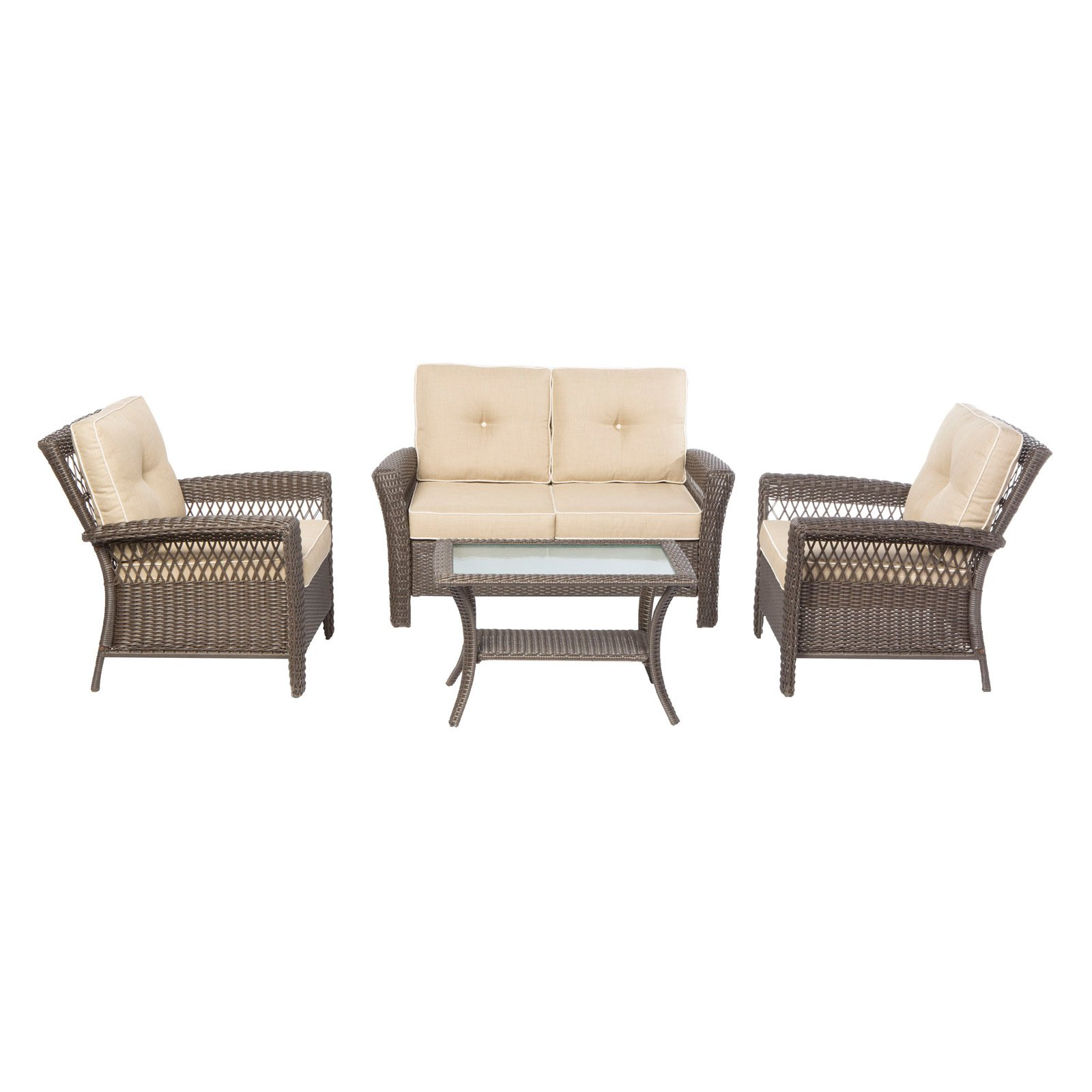 Alfresco Home Isabella All Weather Wicker 4 Piece Convers...
