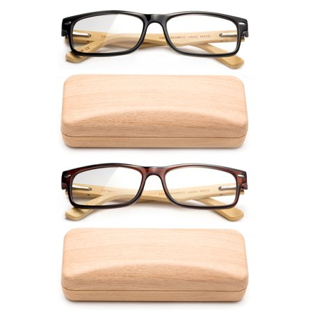 Real Bamboo Reading Glasses Spring Hinge Genuine Bamboo Rectangular Reader (Rectangular Face Glasses)