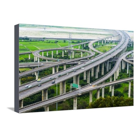 Architecture of Highway Construction with Beautiful Curves in Daytime in Taiwan, Asia. Stretched Canvas Print Wall Art By Wayne0216