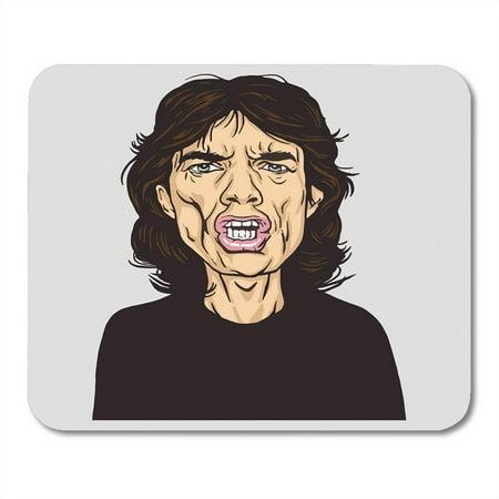 SIDONKU Rock Mick Jagger Portrait Caricature January 14 Star Band British 1964 Mousepad Mouse Pad Mouse Mat 9x10