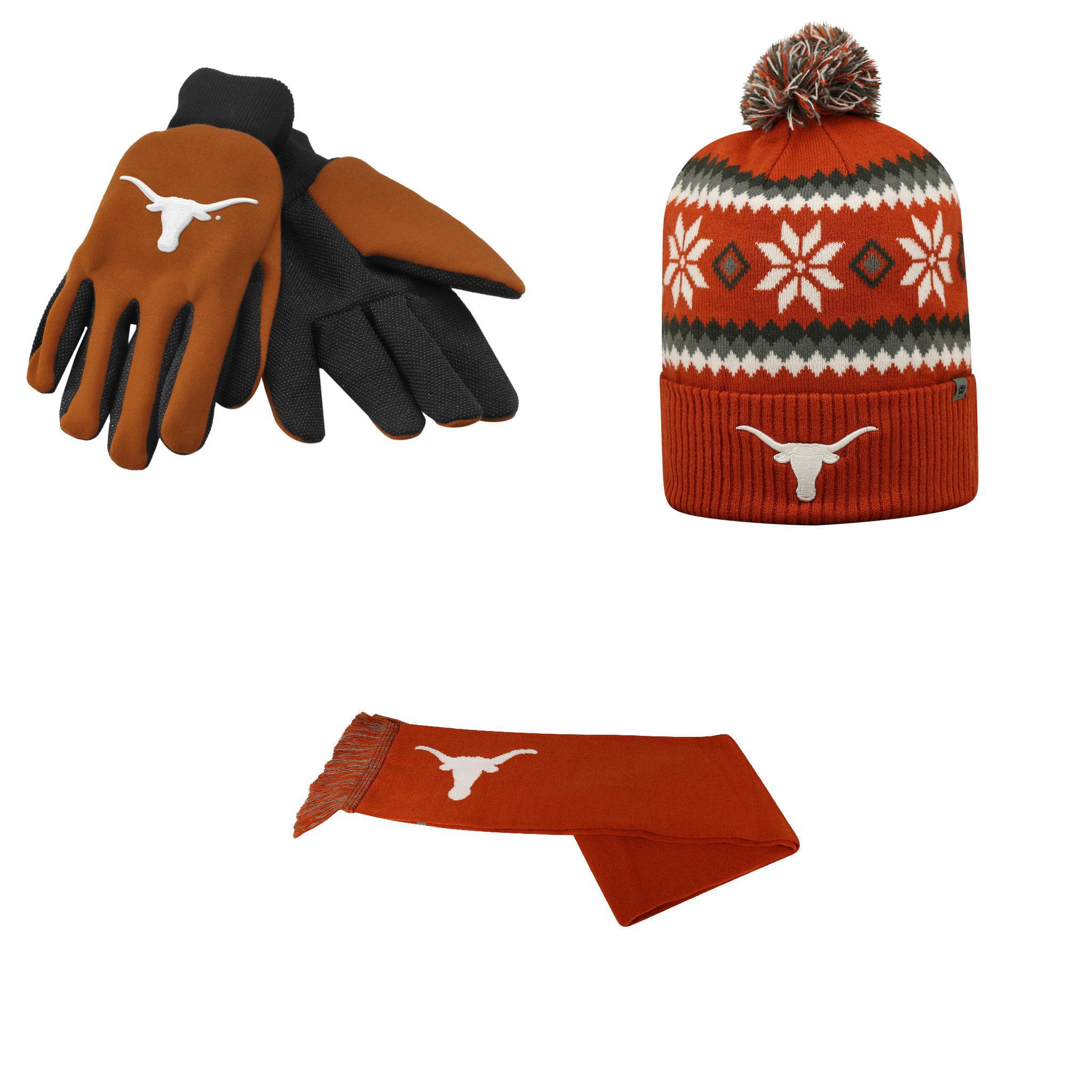 NCAA Texas Longhorns Grip Work Glove Team Logo Scarf And Fogbow Beanie Hat 3 Pack Bundle