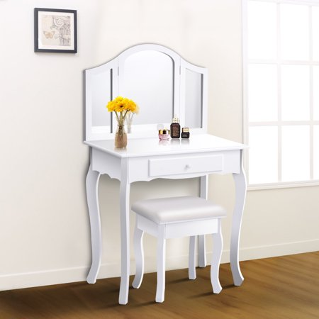 costway white tri folding mirror vanity makeup table set bathroom w stool drawers. Black Bedroom Furniture Sets. Home Design Ideas
