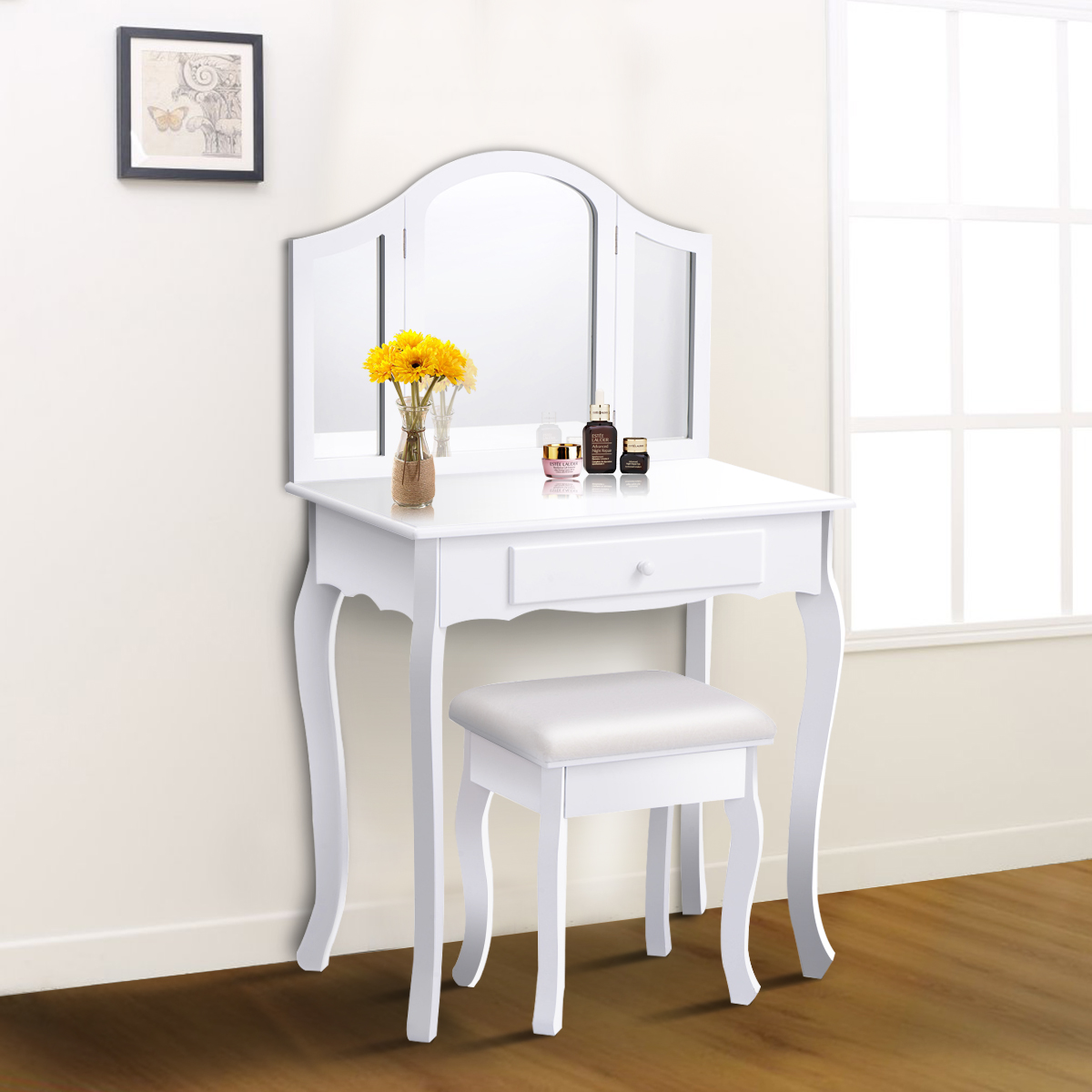 Costway White Tri Folding Mirror Vanity Makeup Table Set Bathroom W/Stool U0026  Drawers