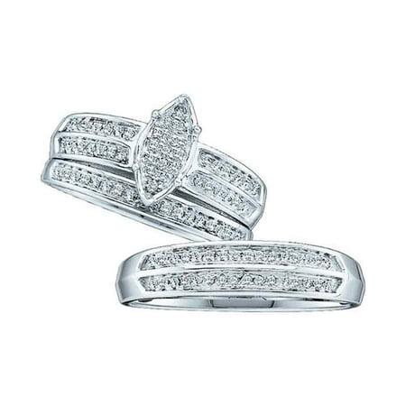 10kt White Gold His & Hers Round Diamond Cluster Matching Bridal Wedding Ring Band Set 1/4 - Set Band