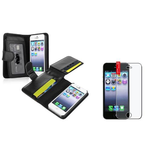 Insten Black Leather Wallet Case w/ Card Holder Slot for Apple iPhone SE 5 5s + Anti-glare Protector