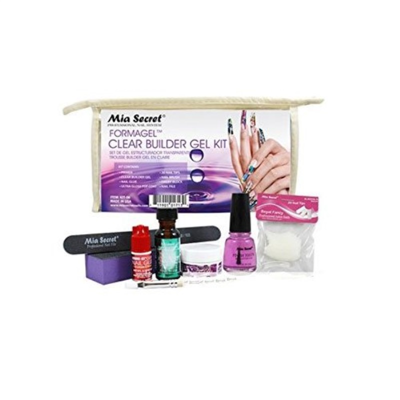 Clear Builder Gel Kit: Primer, Clear Builder Gel, Nail Glue, Ultra Gloss Top Coat, 20 Nail Tips, Nail Brush, Emery Block, Nail File