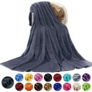 Howarmer Large Dark Gray Fleece Throw Blankets, Twin Size Soft Fuzzy Blanket for Women Men and Kids, All Season Lightweight Microfiber Fluffy Blanket, 60 x 80 inch
