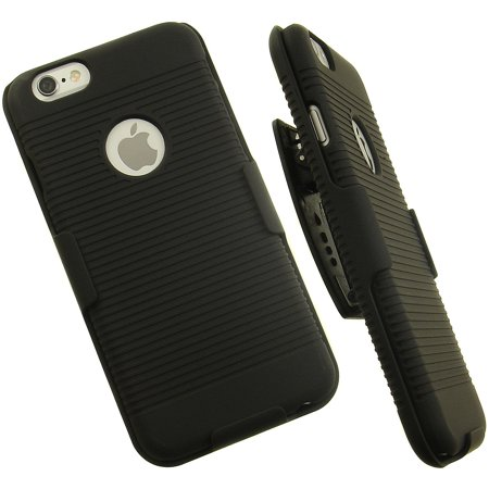 iPhone 6 Clip, Black Ribbed Hard Shell Stand Case Cover and Belt Hip Holster Holder Combo with Stand for Apple iPhone 6 6s