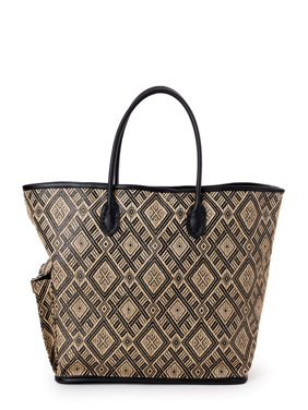 Time and Tru Straw Side Pocket Tote Bag with Exterior Side Compartment