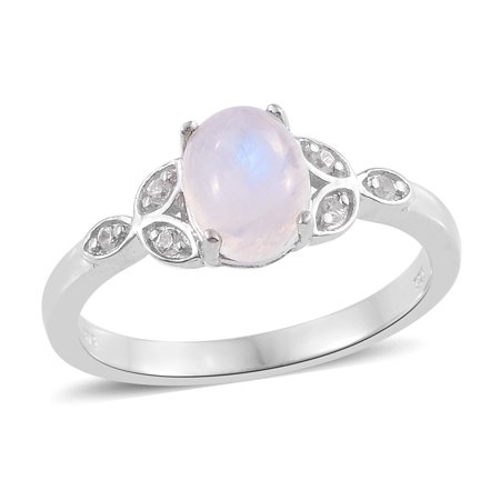 Statement Ring 925 Sterling Silver Platinum Plated Rainbow Moonstone Zircon Gift Jewelry for Women (5,10,6,7,8,9)