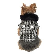 Black/White Faux Fur Collared Fashion Trench Coat Warm Winter Apparel for Puppy Dogs - Small (Gift for Pet)