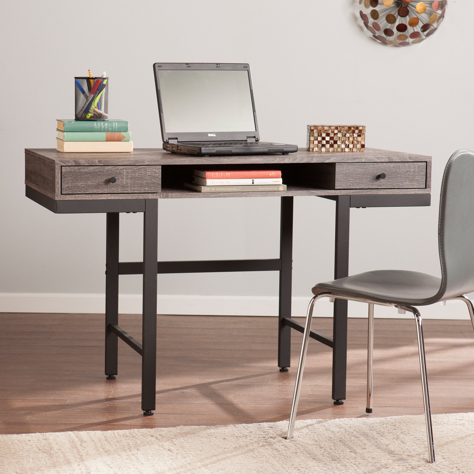 Southern Enterprises Ranleigh Writing Desk - Weathered Gray / Black