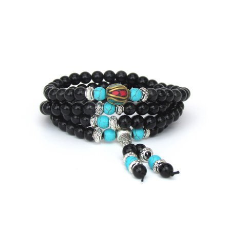 Mala Beads Multilayer Stretch Bracelet and Necklace, Black Obsidian Blue Turquoise Buddhist Prayer Beads, Versatile, Unique Gift - Black And White Bead Necklace