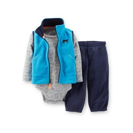 Carters Infant Boys 3 Piece Blue Bear Outfit Sweat Pants Creeper Jacket Vest