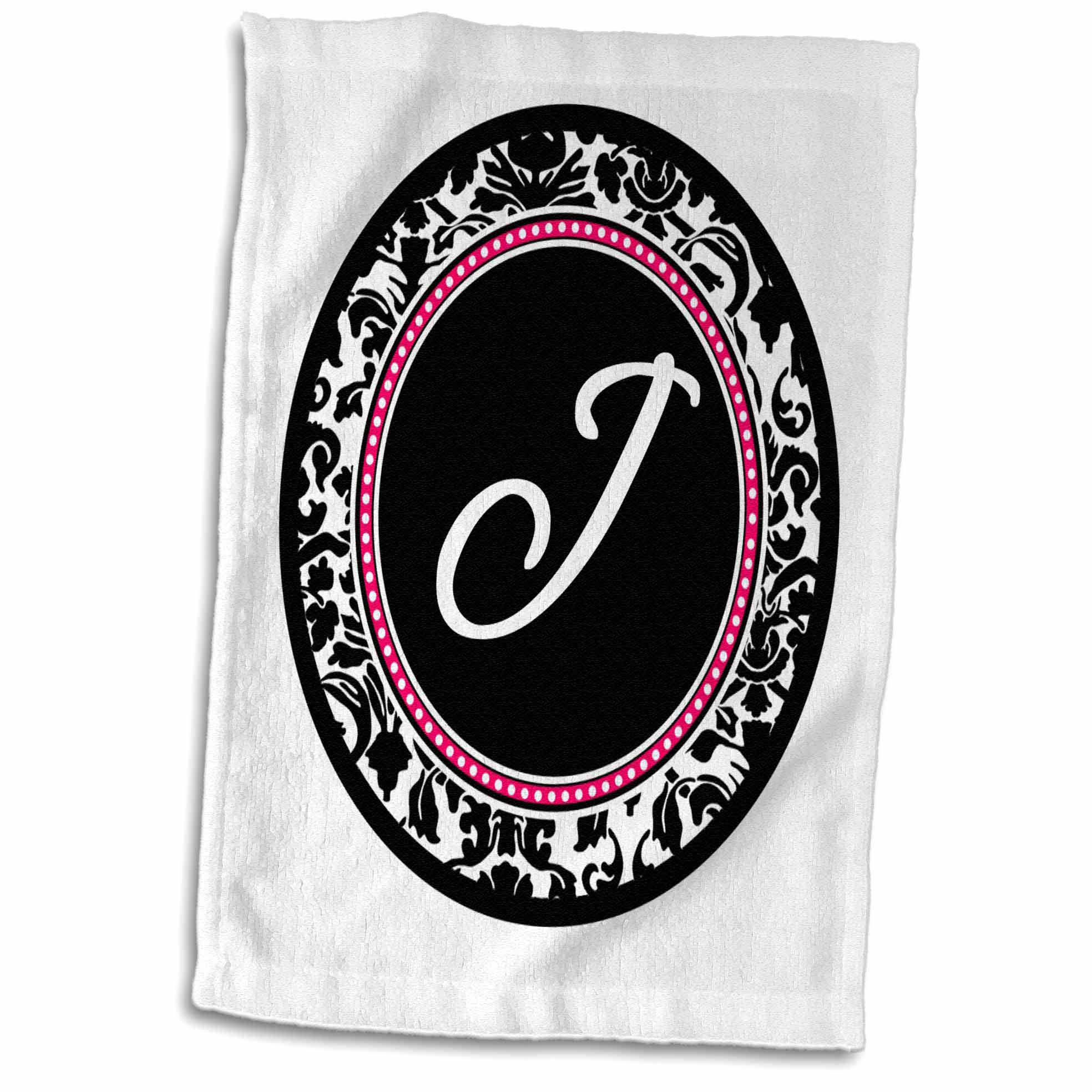 3dRose Letter J stylish monogrammed circle - girly personal initial personalized black damask with hot pink - Towel, 15 by 22-inch