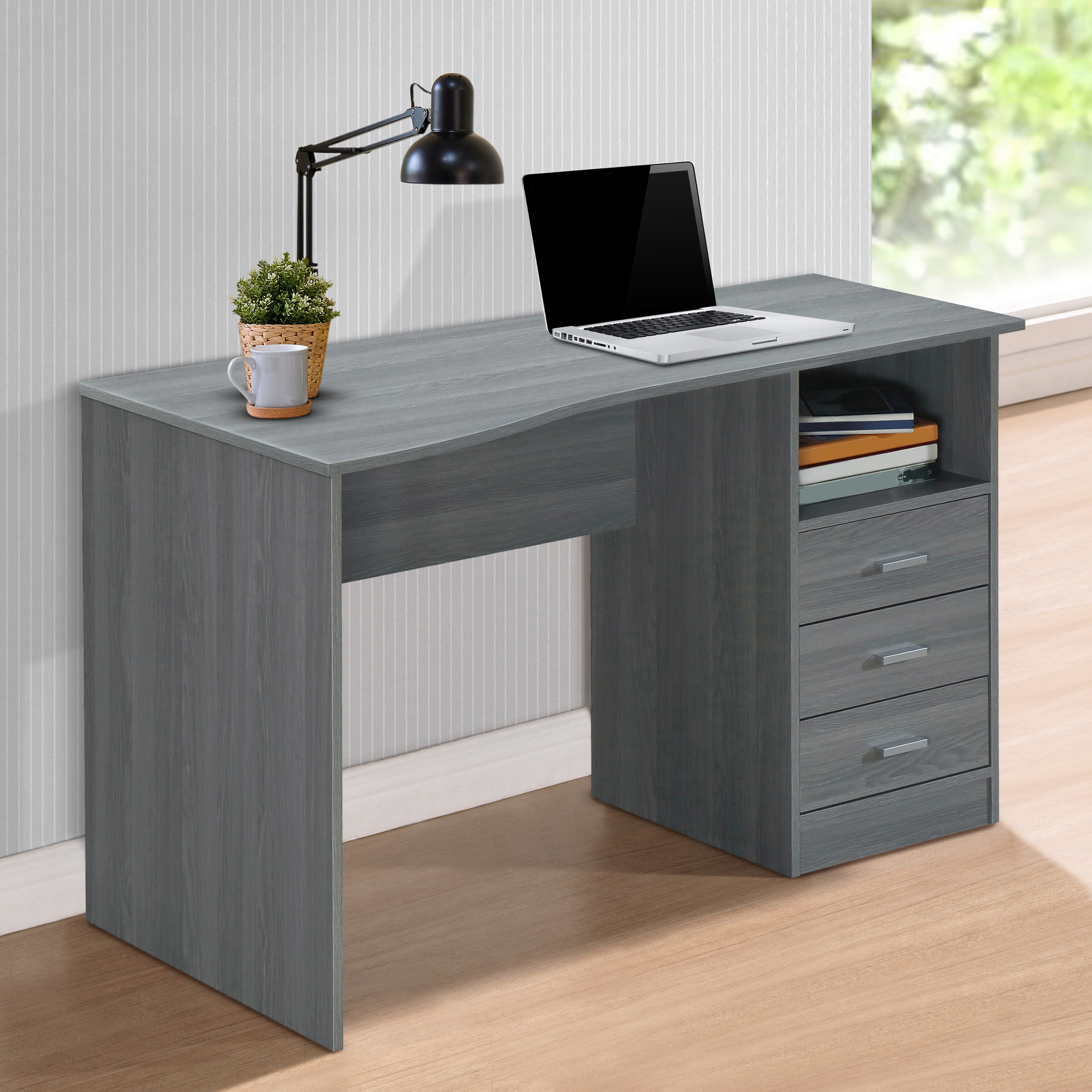 Techni Mobili Classic Computer Desk With Drawers Grey Walmart Com Walmart Com