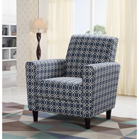 Sensational Best Master Furniture Navy Blue Off White Pattern Accent Chair Machost Co Dining Chair Design Ideas Machostcouk