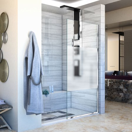 Dreamline Shower Panel (DreamLine Linea Single Panel Frameless Shower Screen 30 in. W x 72 in. H, Frosted Privacy Band Glass in Chrome)