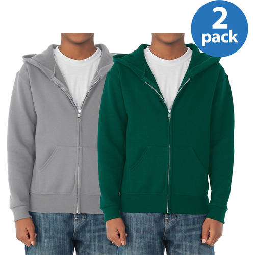 Jerzees Boys' Pill-Resistant Fleece Full-Zip Hoodie, Your Choice 2-Pack