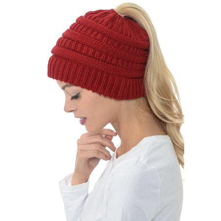 SENFLOCO - Women Beanie Hat Tail Knit Hat -Winter Warm Beanie Tail Soft  Stretch Cable Knit Messy High Bun Ponytail Beanie Hats for Women -  Walmart.com 6f53a1c2351