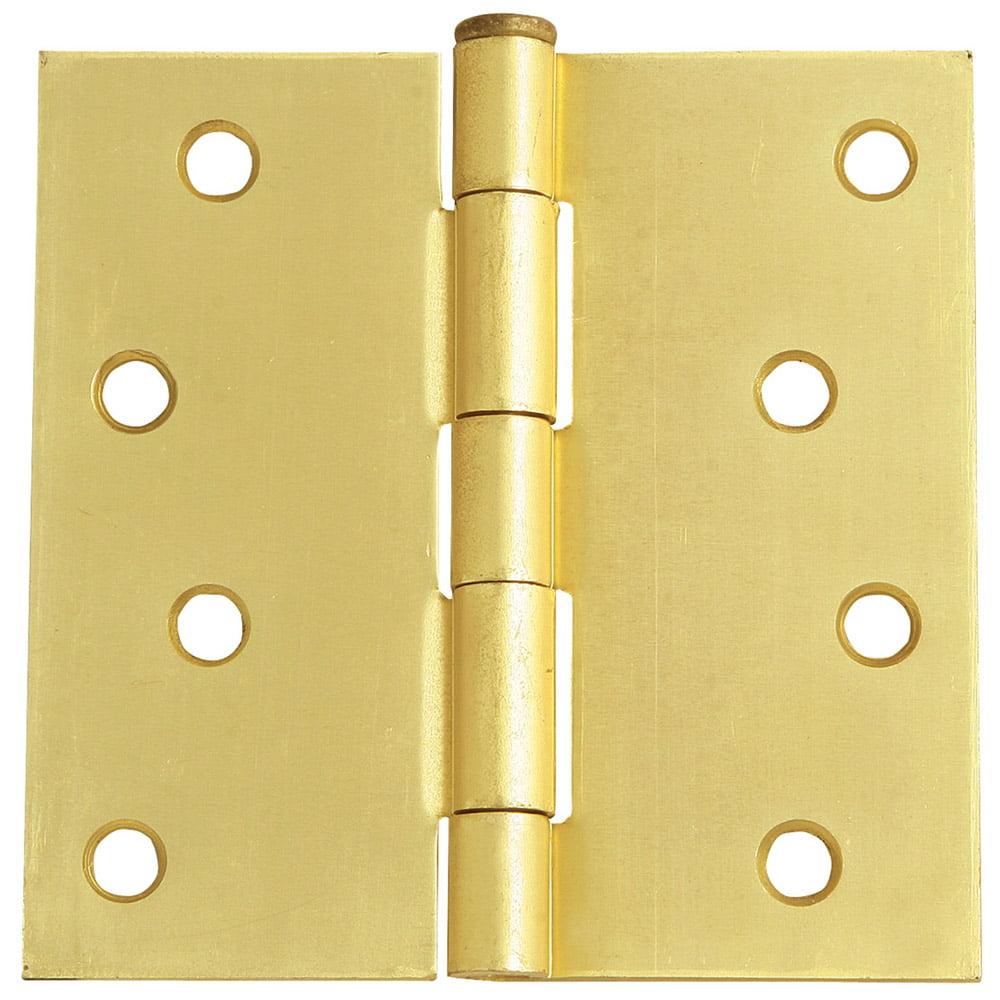"Design House 202598 8-Hole Square Door Hinge, 4"", Satin Brass"