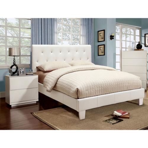 Furniture of America Mircella White 3-piece Bed, Nightstand and 12-inch Mattress Set Twin Bed with Mattress and Nightstand