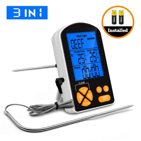 Remote Cooking Food Meat Thermometer Grill Thermometers for Grilling Oven Kitchen Smoker BBQ Grill Thermometer with Probe + 2 AAA Battery