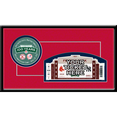 Fenway Park 100Th Anniversary Game Single Ticket Frame - Boston Red Sox Boston Red Sox TF1BBBOS100G
