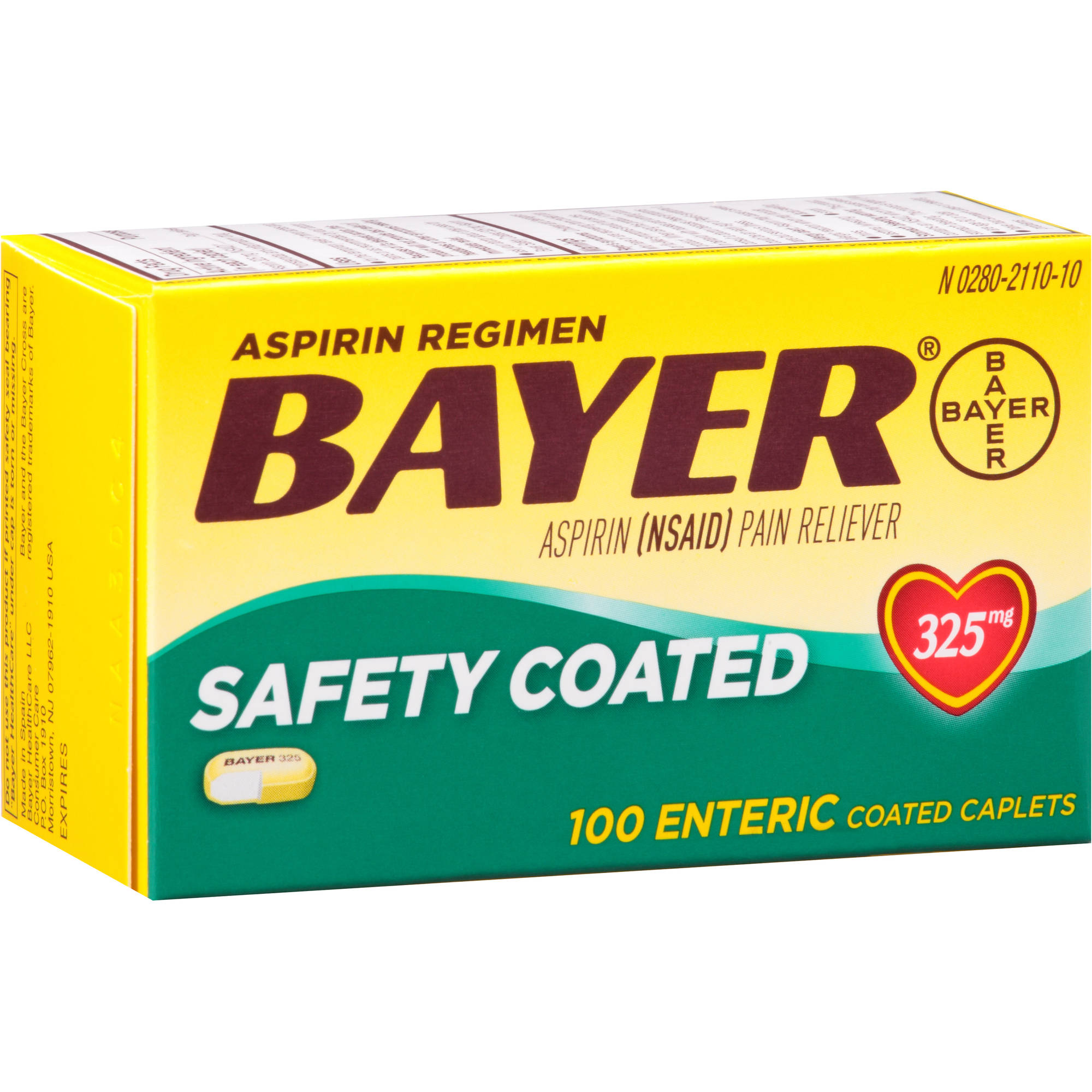 Bayer Aspirin Pain Reliever Enteric Coated Caplets, 325mg, 100 count