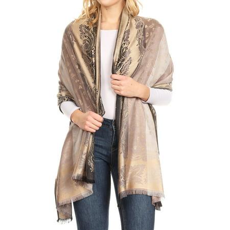 Gold Scarf (Sakkas Alessa Women's Silky Soft Reversible PaisleyPrint Pashmina Scarf Shawl Wrap - Gold - One Size)