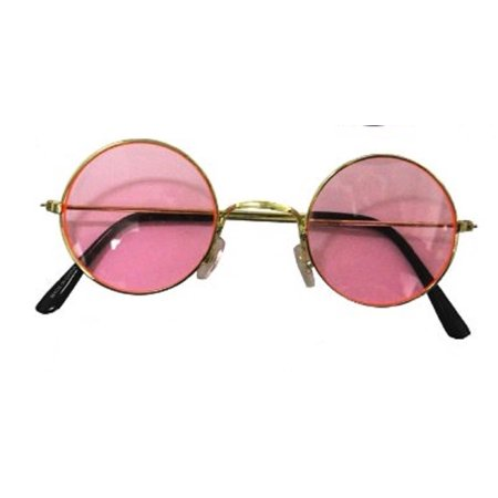 Small Retro Lennon Inspired Style Colored Pink Lens Round Metal Sunglasses