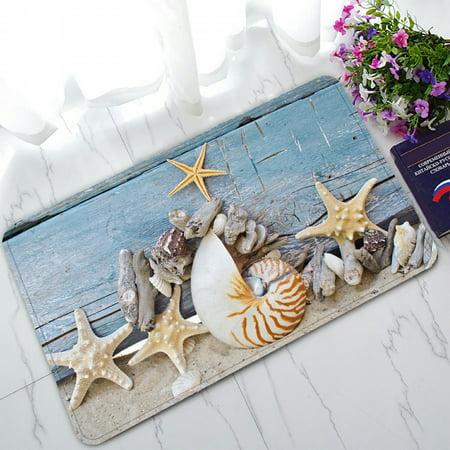 ZKGK Summer Beach with Starfish Sea Shells Non-Slip Doormat Indoor/Outdoor/Bathroom Doormat 30 x 18 - Wicker Beach Mat