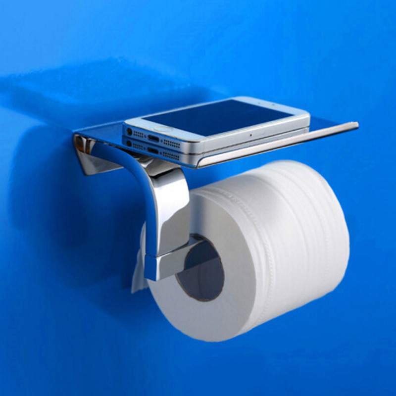 Interbuying Wall Mount Toilet Paper Holder with Phone Storage Shelf Bathroom Tissue Holder(#020036)